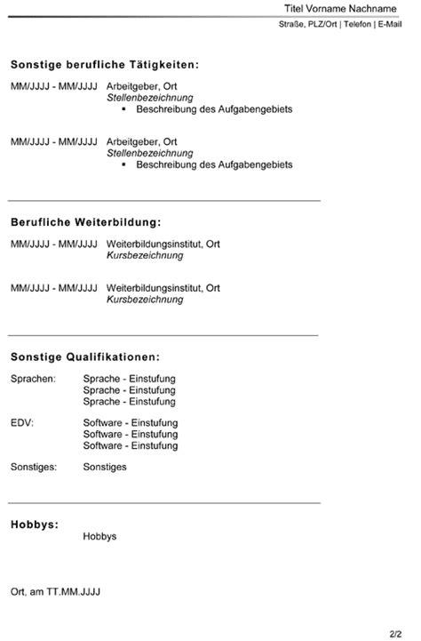 Standard Lebenslauf Vorlage by Lebenslaufvorlage Zum Lebenslauf