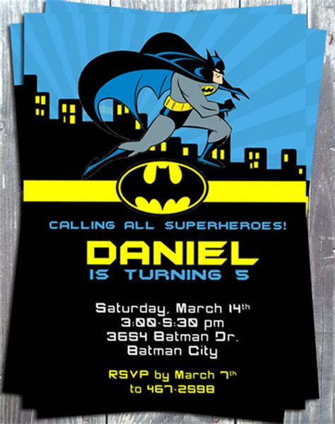 Supper Heroes Batman Birthday Party Printable Invitation