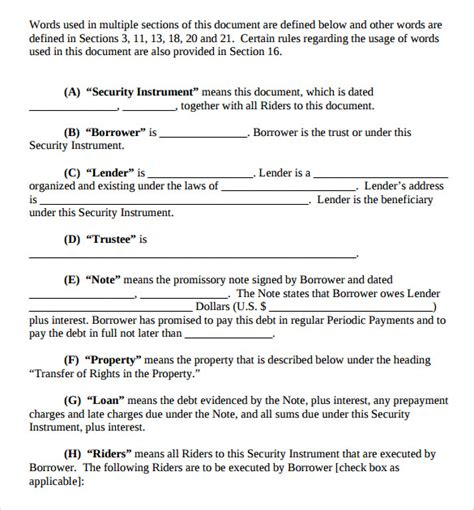 trust agreement template deed of trust forms 8 documents free in pdf word