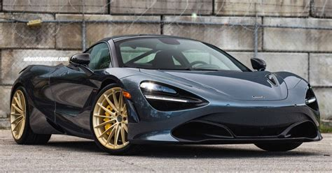 blue mclaren 720s looks sweet on frozen gold custom wheels