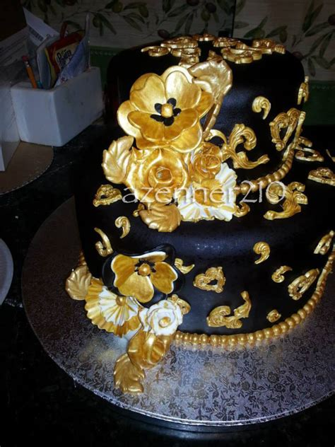 Gold Cake Choco Cheese black and gold birthday cake the cake it self was velvet with cheese filling