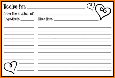 Fillable Recipe Card Template by 7 Fillable Recipe Card Template Ledger Review