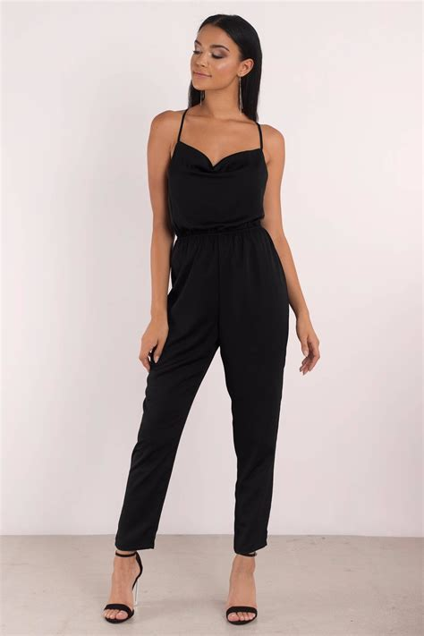 Jump Suit trendy black jumpsuit cross back black jumpsuit 68