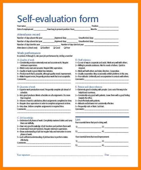 performance self evaluation form printable employee self