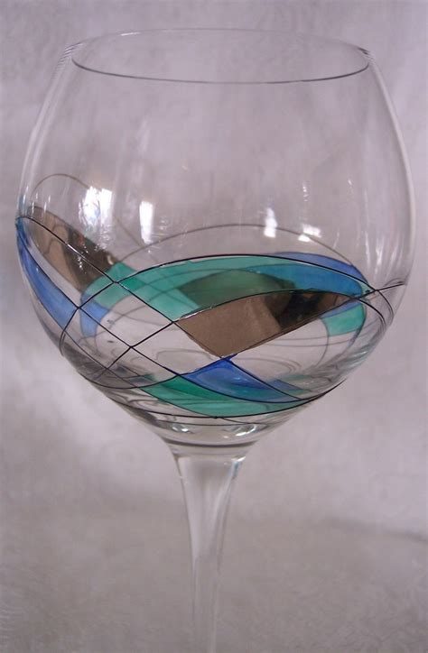 blown wine glasses blown wine glasses painted stained glass romania european set 6 wine glasses