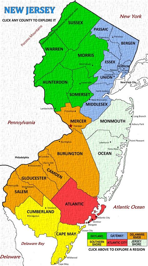 nj counties map new jersey vacations outdoor and travel adventures