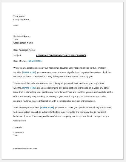 warning letter employee bad performance word