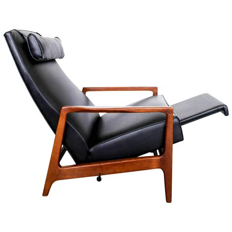 black leather lounge chair stunning leather black mid century reclining lounge