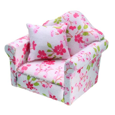 Pink Floral Armchair 1 12 Dollhouse Miniature Pink Floral Armchair Single Sofa