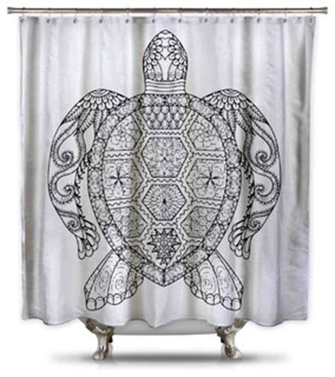black and white turtle shower curtain coloring
