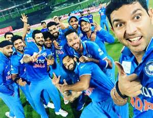 Winning selfie of indian cricket team after asia cup final