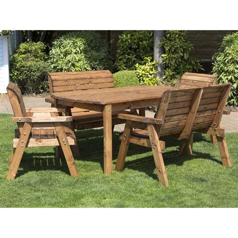 wooden patio dining sets garden and patio diy solid wood picnic table with attached