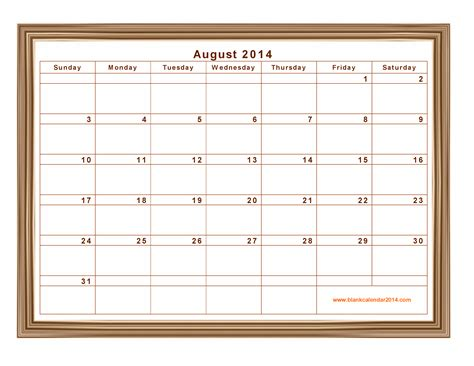 august 2014 calendar template 9 best images of printable 2014 monthly calendar august