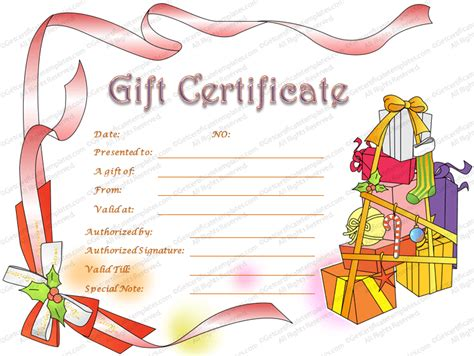 christmas hampers gift certificate template