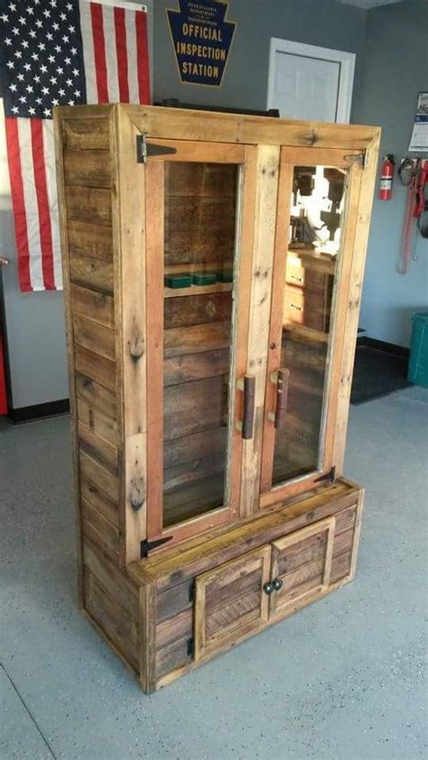 wood and glass gun cabinet gun cabinet built from pallets the glass door and frame