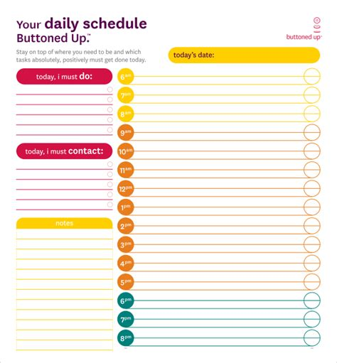 sle printable daily schedule template 23 free