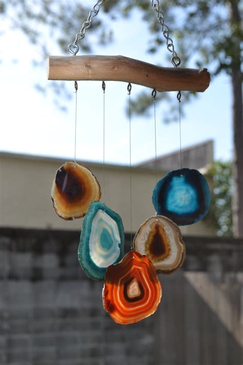 Handmade Wind Chimes For Your Home - agate driftwood handmade by