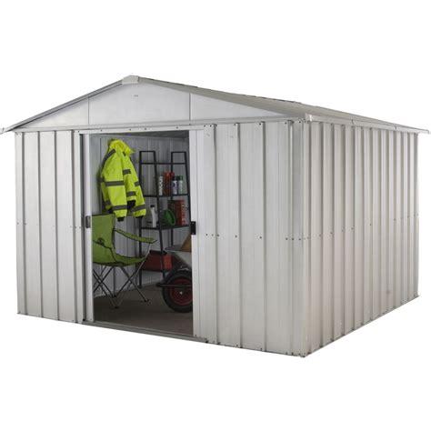 Yardmaster Apex Roof Metal Shed - yardmaster 10ft x 8ft apex roof metal shed at homebase co uk