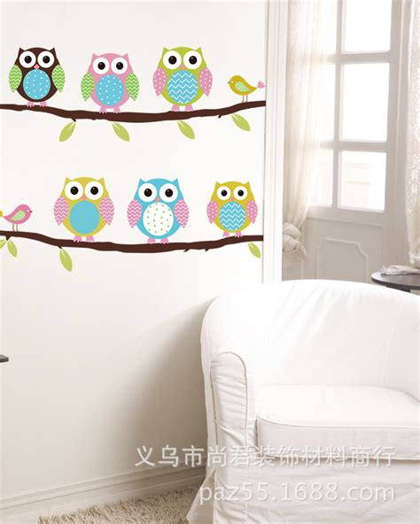 2016 New Arrive Cute Owl Wall Sticker Removable Home Decor Removable Wall Stickers For Rooms