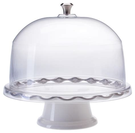 Pedestal Cake Stand With Dome 11 white cake stand with dome scalloped edge design