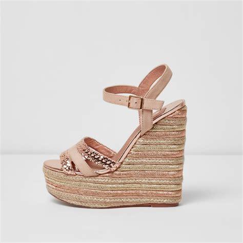 Sandal Platform Wedges Slop Gold gold metallic espadrille platform wedges sandals shoes boots