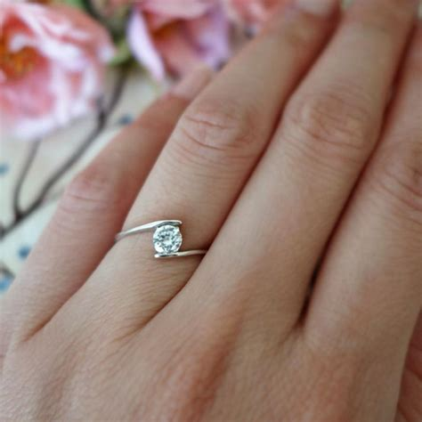 swirl ring minimalist ring 1 2 ct solitaire ring simple