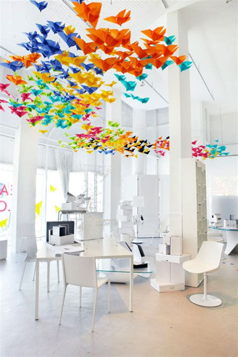 Origami Installation - heavenly origami installation by elixr and interiors