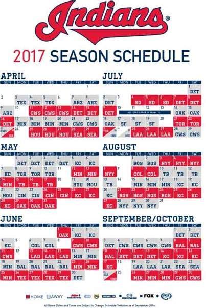 Indians Printable Schedule