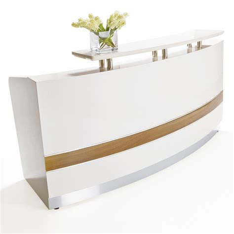arc white gloss curved reception desk fast office furniture