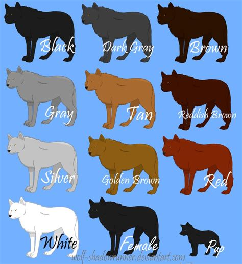 what color are wolves wowlf colors by wolf shadowrunner on deviantart