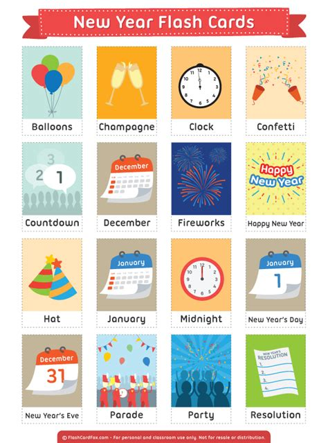 new year story flashcards printable new year flash cards