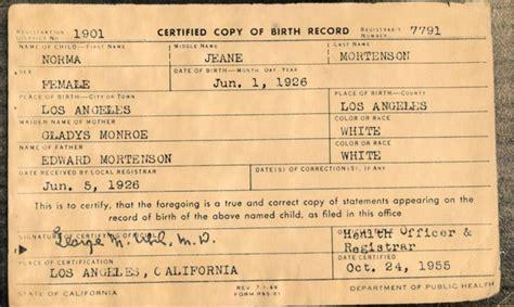 Alaska Birth Records Geburtsurkunde Marilyn Norma Jean Baker Births Originals