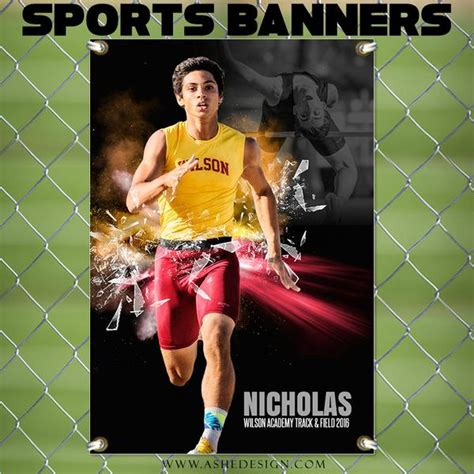 Ashe Design Photoshop Template 2x3 Sports Banner Explode On The Scene Ashedesign Senior Sports Banners Templates