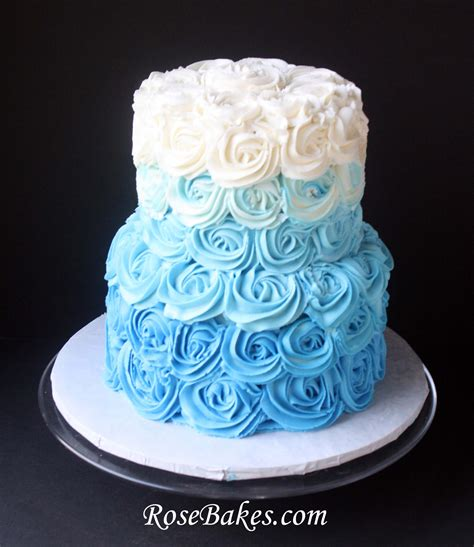 Hochzeitstorte Hellblau by Blue Ombre Buttercream Roses Cake For Wedding
