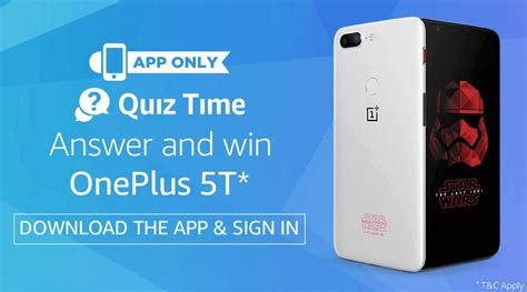 amazon quiz oneplus 5t amazon oneplus 5t app quiz all answers added win free