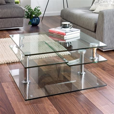 jacque extending glass coffee table clear   dwell