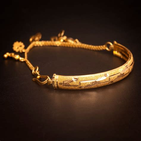 Handmade Gold Bangles - vintage handmade charm bangle bracelet in solid certified