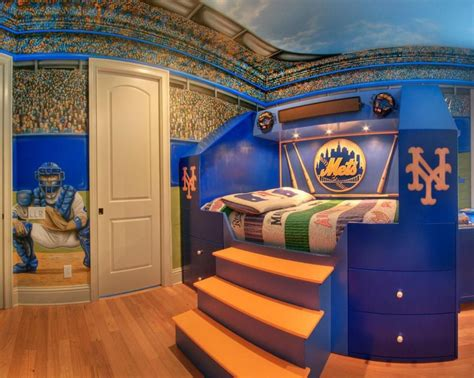 sports murals for bedrooms modern kids bedroom with raised bed sports themed