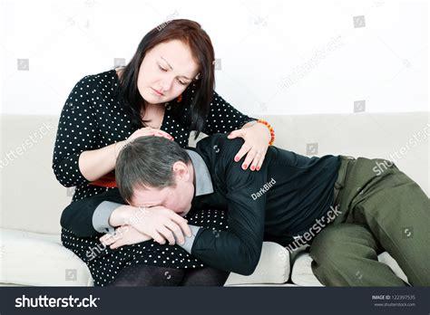 comforting crying girlfriend woman comforting her crying man stock photo 122397535