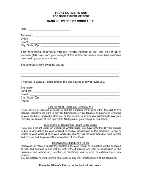 14 day eviction notice template best photos of 14 day notice form 14 day notice to quit