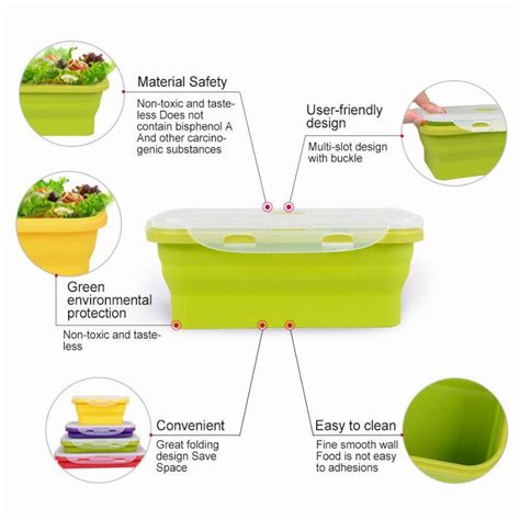 Lunch Box Kertas Sekat 4 Xl 4 sizes silicone collapsible lunch boxes portable food storage holder kitchen outdoor events