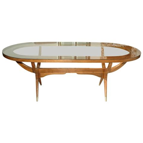 Glass Oval Dining Tables 60 S Oval Dining Table With Glass Top At 1stdibs