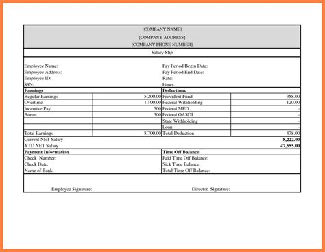 excellent payslip template sample in excel format with blank