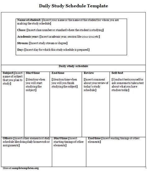 daily study planner template schedule template for daily study sle of daily study