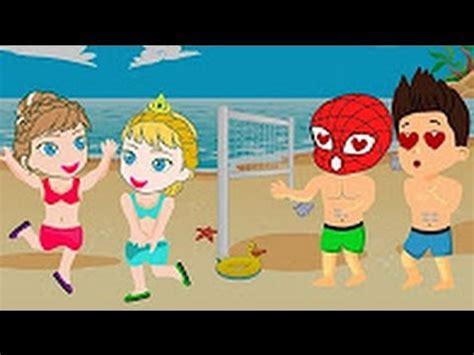 dibujos de niños jugando voleibol dibujos animados para ni 241 os spiderman y ryder jugar