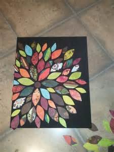 Crafts Using Scrapbook Paper - paint canvas cut scrapbook paper into shapes lay out to