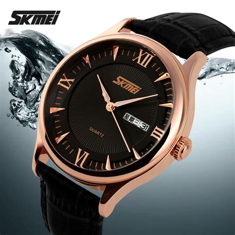 skmei casual leather water resistant 30m 9091cl black emws1mbk titangadget