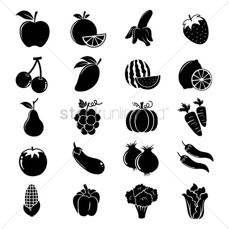 fruit and vegetable silhouettes vector image 1447206