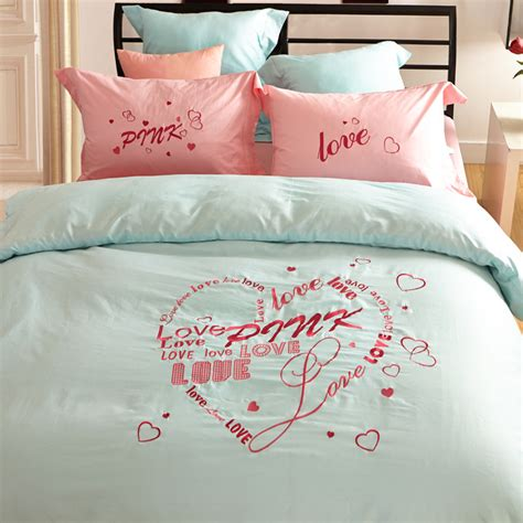 victoria secret bed set queen vs secret pink bedding set love design 100 cotton duvet cover bed sheet pillowcase