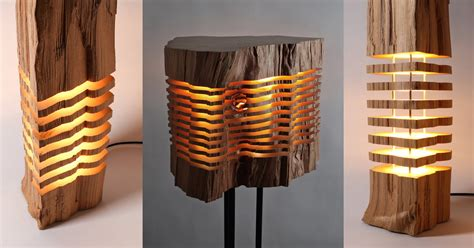 Bookshelf Lamp Minimalist Sliced Firewood Lamps By Split Grain Colossal